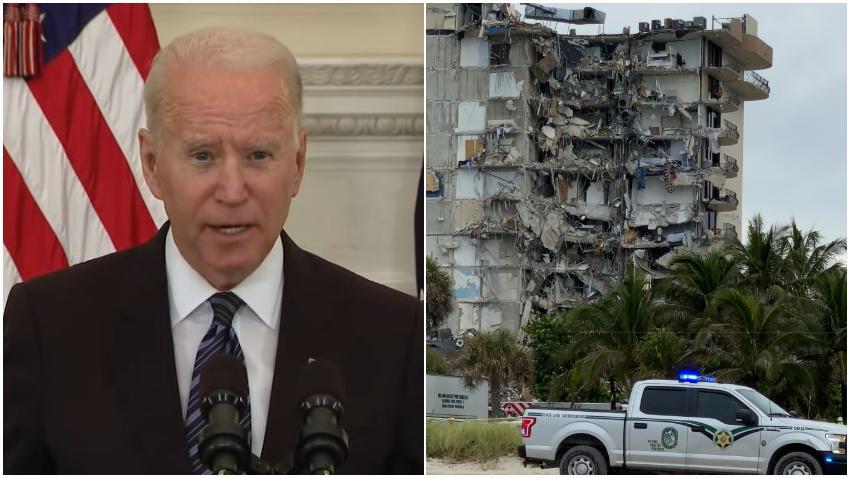 Presidente de Estados Unidos Joe Biden ofrece asistencia federal para ayudar en la tragedia del colapso del edificio al norte de Miami Beach