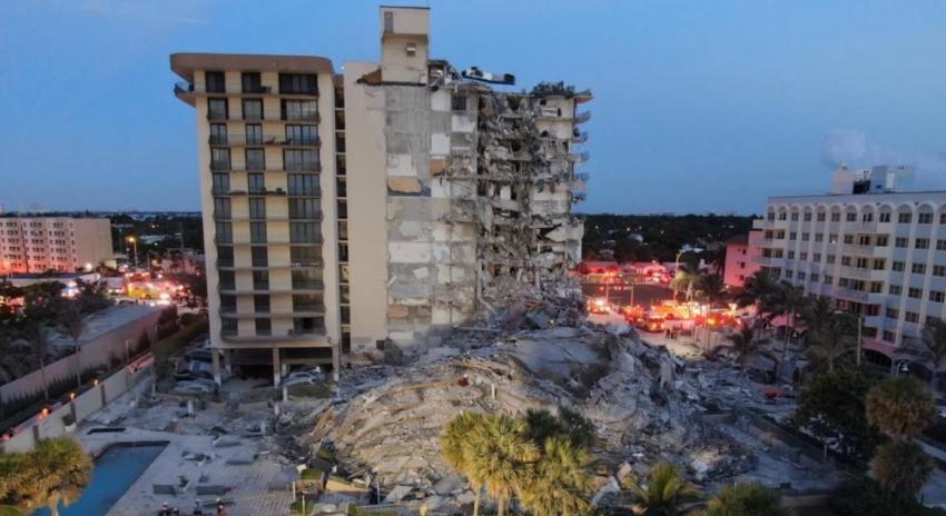 Colapsa edificio de apartamentos en Surfside, norte de Miami Beach; rescatistas buscan sobrevivientes