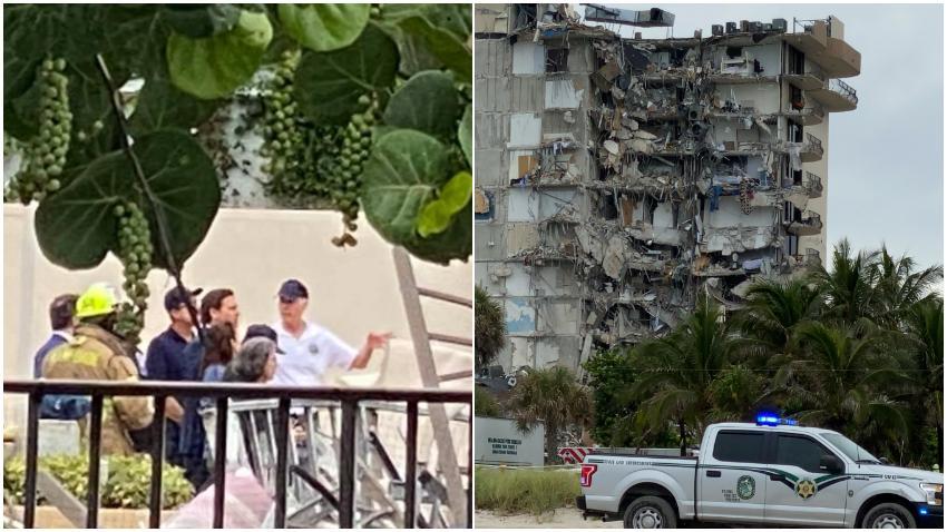 Gobernador de Florida visita el lugar del desastre en Surfside al norte de Miami Beach