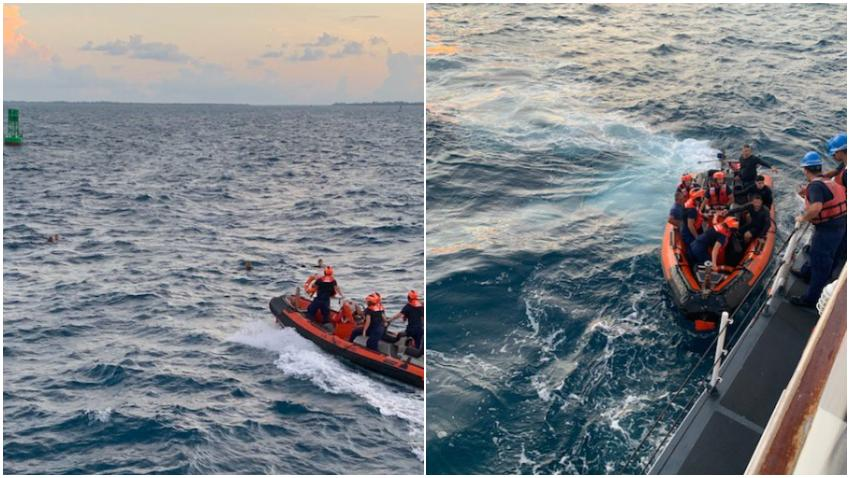 Guardia Costera rescata a cuatro personas después de que su bote se volteara en Miami Beach