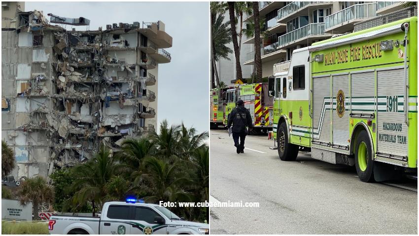 Reportan incendio en el lugar donde colapsó el el edificio al norte de Miami Beach