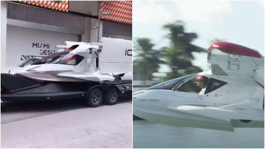 """Pequeño avión parecido a un """"Auto volador"""" es transportado por las calles de Miami"""