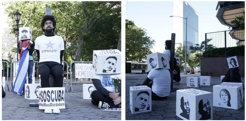 Cubanos se manifiestan frente a la sede de la ONU en Nueva York, en solidaridad con los presos políticos en la Isla