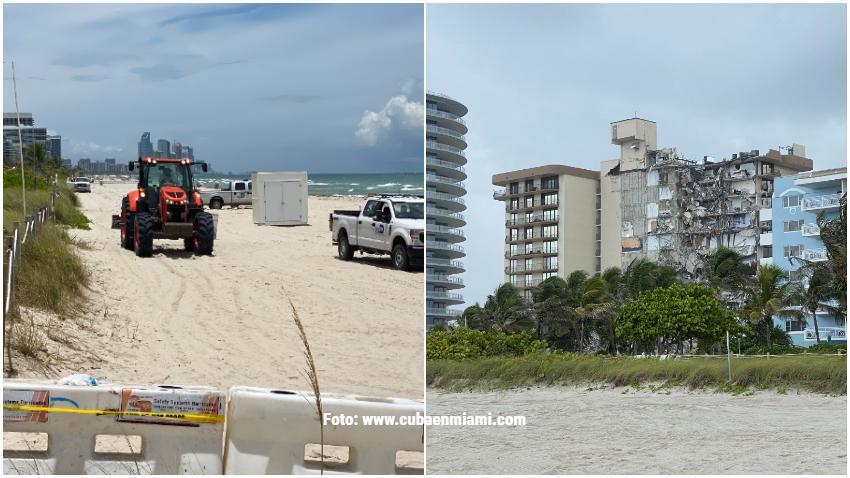 Bote usado por inmigrantes llega vacío al mismo lugar donde colapsó el edificio en Surfside al norte de Miami Beach