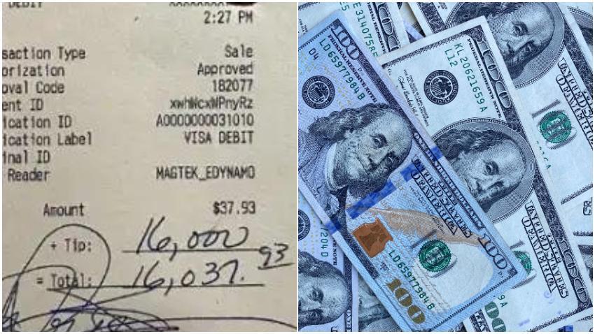 Hombre deja propina de $16 mil dólares tras gastar solo $37 dólares en un restaurante