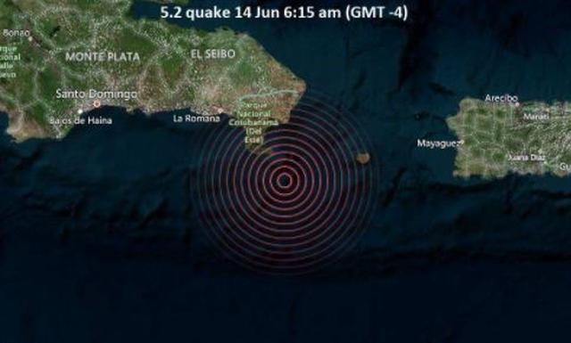 Reportan sismo de magnitud 5.2 en la República Dominicana
