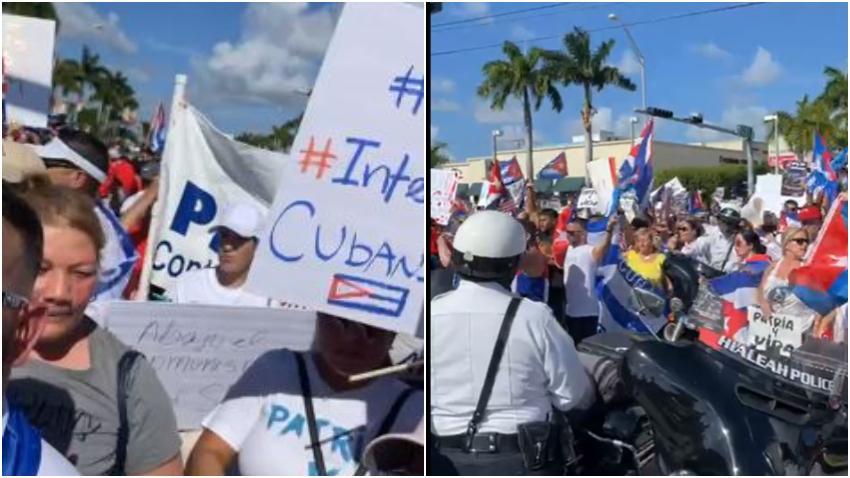 Cubanos salen a las calles a manifestarse en Hialeah por la libertad de Cuba