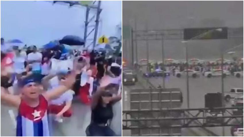 Cubanos interrumpen el tráfico en el Palmetto en Miami para llamar la atención sobre la situación en Cuba