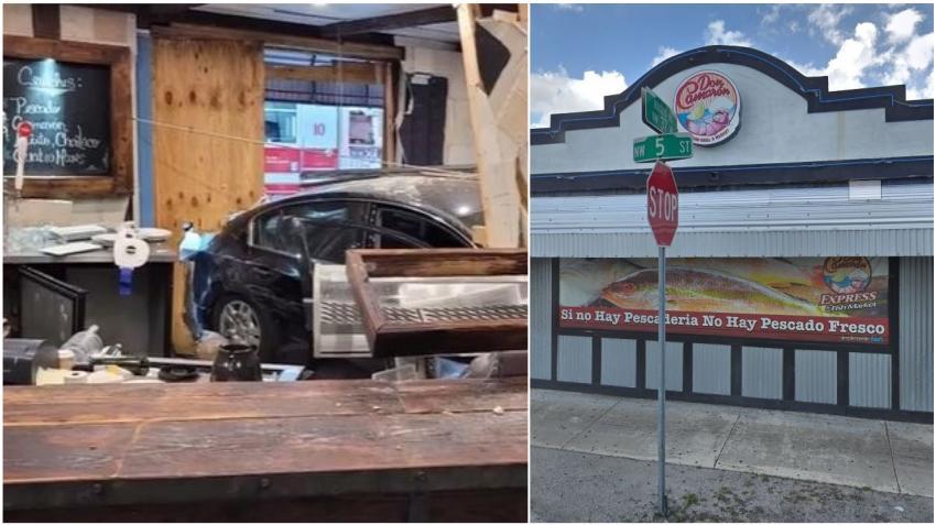 Un auto se estrella contra el restaurante Don Camarón en Miami; tres personas son hospitalizadas