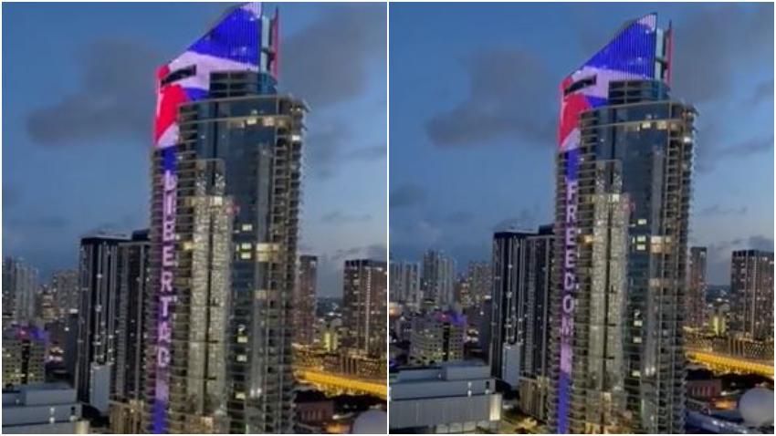 Rascacielos en Miami se ilumina con la bandera de Cuba y la palabra Libertad en apoyo al reclamo de los cubanos por el fin de la dictadura