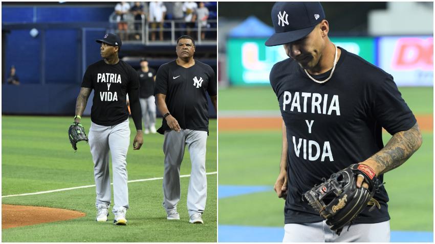 Con la frase Patria y Vida impresa en sus camisetas los Yankees de Nueva York se presentan en el estadio de Miami