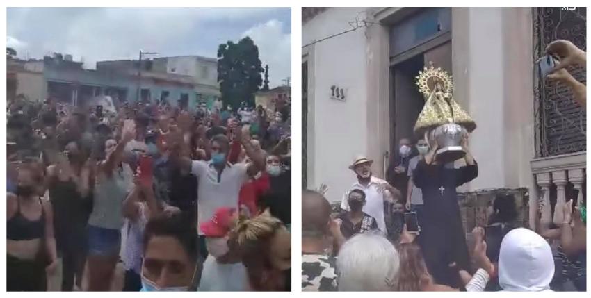 Emotiva escena de los cubanos pidiendo libertad frente a la Virgen de la Caridad en Bejucal, durante las protestas del domingo