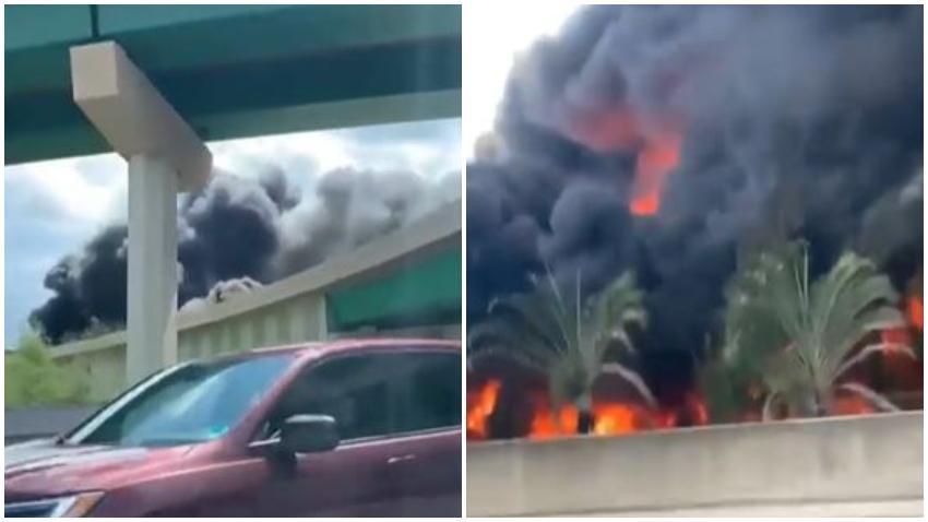 Un muerto después de que un camión cisterna de combustible se estrellara en la I 95, derramando combustible y provocando un gran incendio y demoras en el tráfico