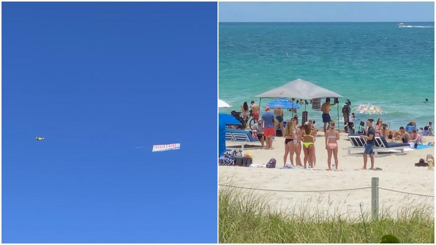 """Una avioneta con la frase """"Patria y Vida"""" sobrevoló las playas de Miami"""