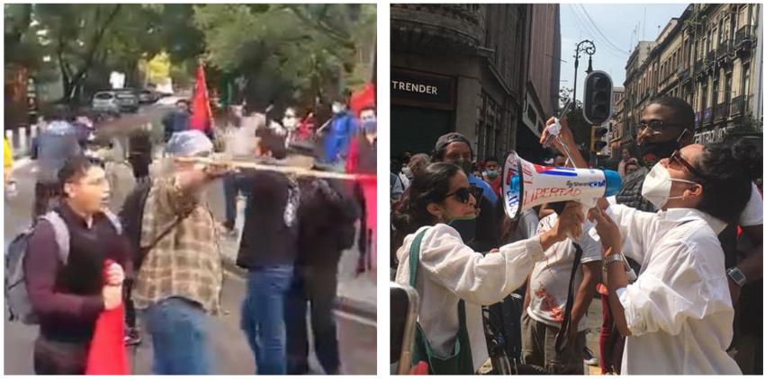 Brutalmente agredidos los cubanos que se manifestaron en México por la visita del dictador Miguel Díaz-Canel
