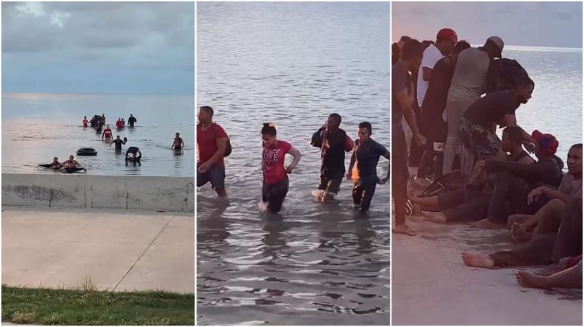 En cámara el momento en que 17 balseros cubanos llegan a Key West